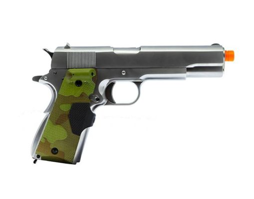 PISTOLA AIRSOFT WE GBB 1911 G2 COM GRIP FG E006 - PRATA